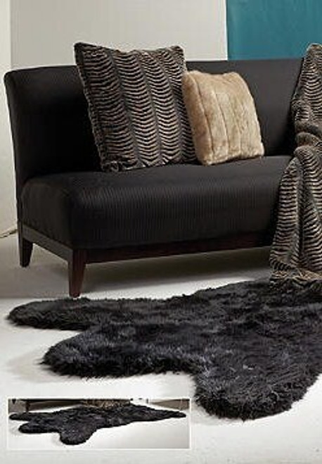 Black Bear Faux Skin Rug - Natural Look and Authentic Shape - 58 Inches X 93 Inches, 5807