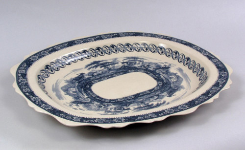 Blue and White Porcelain Transferware Decorative Tray | Platter | Cushion Shape - 21.5 w X 17d X 1.5T
