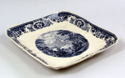 Blue and White Porcelain Transferware Decorative Platter | Tray - 12l X 12w X 1t