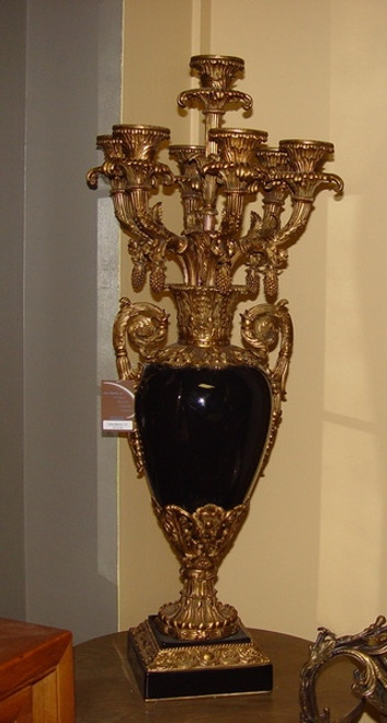 Ebony Black Glaze Decorator Solid with D'or Brass Ormolu - Luxury Handmade Chinese Porcelain - Statement 37 Inch 7 Branch Candelabrum - Style TBA