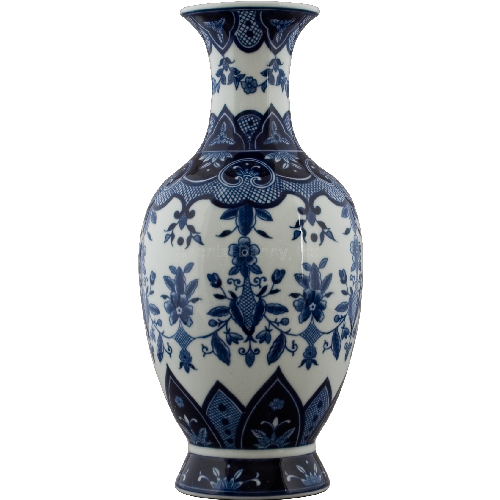 Classic Floral & Crosshatch Blue and White Pattern, Luxury Hand Painted Porcelain, 18 Inch Mantel Vase