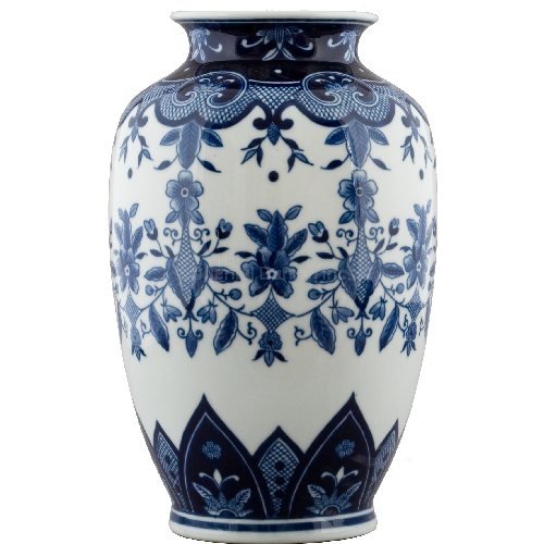 Classic Floral & Crosshatch Blue and White Pattern, Luxury Hand Painted Porcelain, 13.5 Inch Mantel Vase