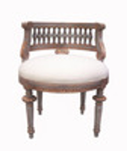 Custom Decorator - Hardwood Hand Carved Reproduction Boudoir | Accent 28 Inch Chair - Spindle Back and Upholstered Seat
