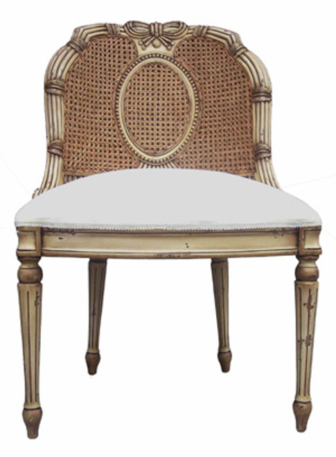 Custom Decorator - Hardwood Hand Carved Reproduction Boudoir | Accent 40 Inch Chair - Cane Back and Upholstered Seat