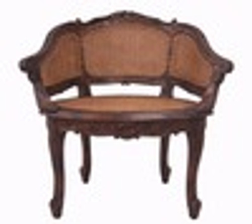 Custom Decorator - Hardwood Hand Carved Reproduction Boudoir | Accent 39 Inch Chair - Cane Back and Cane Seat