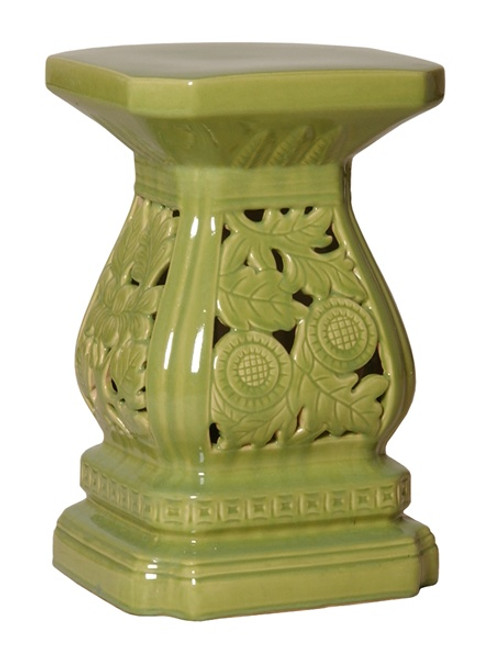 Cascader Feuillage, 19 Inch Finely Finished Ceramic Garden Stool | Table Base, Polished Green Finish