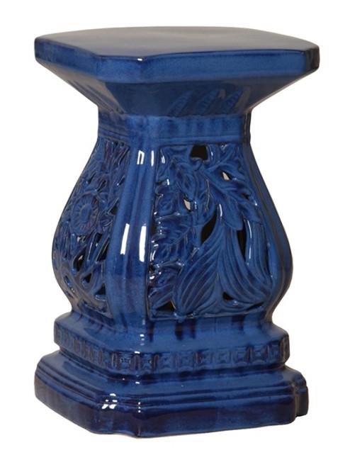 Cascader Feuillage, 19 Inch Finely Finished Ceramic Garden Stool | Table Base, Polished Blue Finish