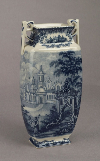 Blue and White Decorative Transferware Porcelain 10 Inch Tall Vase