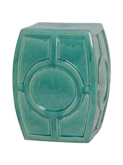 Finely Finished Ceramic Circle Contemporary Garden Stool, 18 Inch, Polished Blue Green Finish