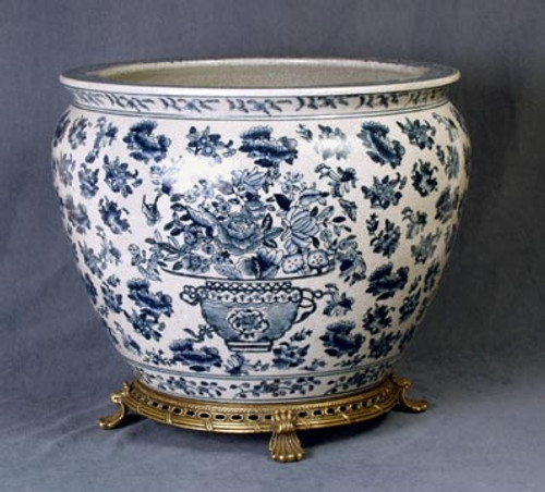 Blue and White Decorative Transferware Porcelain Planter, 14 Inch Fish Bowl Style