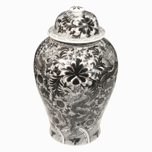 Finely Finished Porcelain Temple Jar, 18 Inch, Classic Black and White Dragon Design