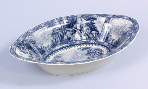 Blue and White Decorative Transferware Porcelain Bowl, 16 Inch Oval Shape