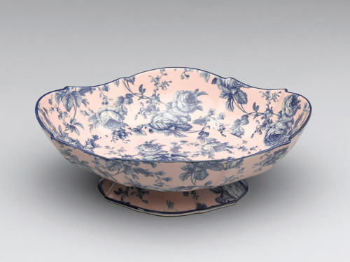 Blue and White | Decorative Roses Transferware Porcelain Dish, Serpentine, Oval Shape 12L x 9.5d x 4t
