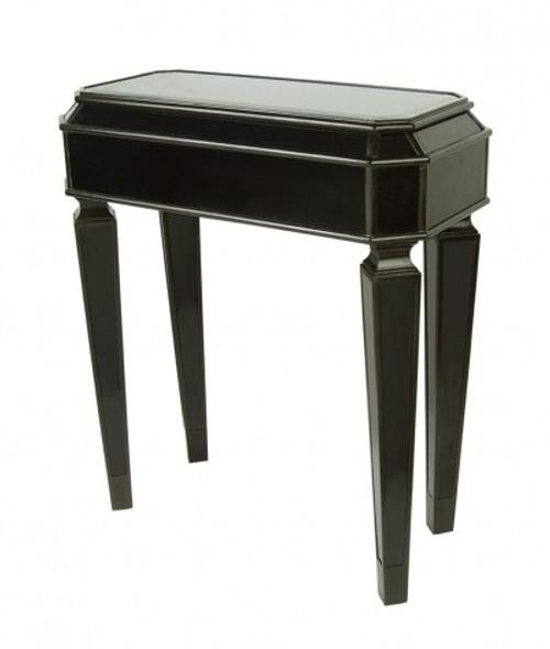 Ebony Black Mirror - 32t X 28w X 14d Side, End, Lamp Table - Louis XVI Neo Classical Style