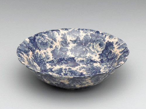 Blue and White Decorative Transferware Porcelain Bowl, 12 Inch Diameter 7052 AAA