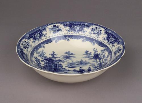 Blue and White Decorative Transferware Porcelain Bowl, 12 Inch Diameter