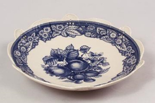 Blue and White Decorative Transferware Porcelain Bowl, 10.5 Inch Diameter