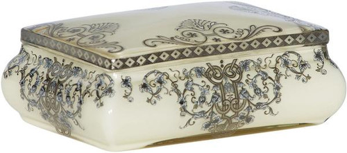 "Glossy White Finely Finished Porcelain Trinket Box with Hand Painted Gold and Silver Flourishes 7"" - Luxe Life Brand"