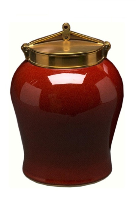 Luxe Life Glossy Red Finely Finished Porcelain and Brass, 18 Inch Ginger Jar