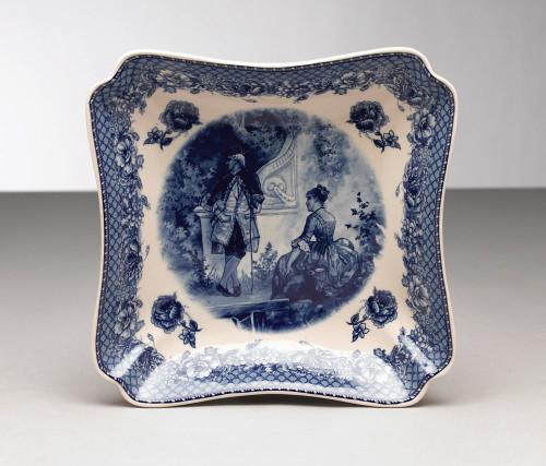 Blue and White Decorative Transferware Porcelain Cut Curner Square Bowl, 10w X 10d X 2t