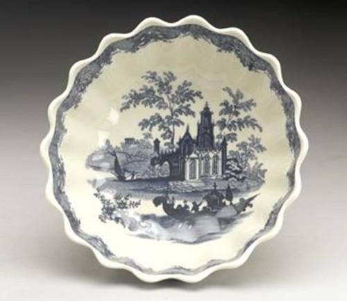 Blue and White Decorative Transferware Porcelain Bowl, 8 Inch Diameter