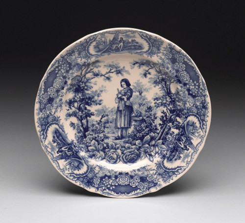 Blue and White Decorative Transferware Porcelain Plate | Joan of Arc | Floral Trim | Courtship Scene - 1.25t x 10d x 10w