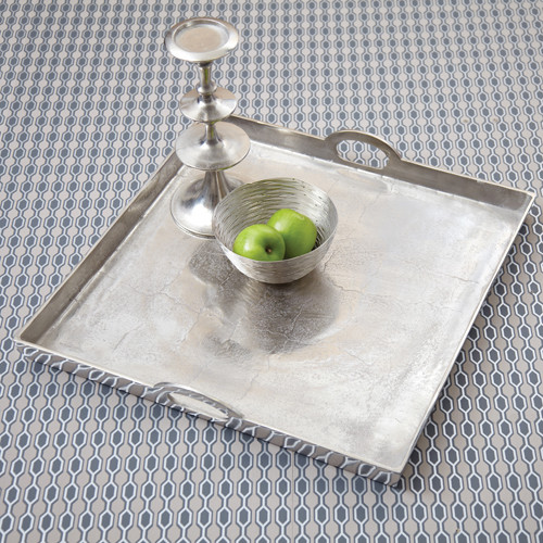 Polished Aluminum, 24w X 24d x 3t Square Serving or Display Tray
