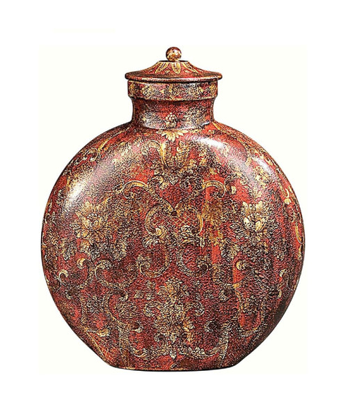 Luxe Life Scrolls and Blossoms, Oval 13 Inch Decorative Covered Jar