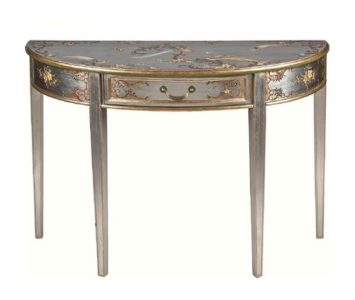 Luxe Life Chinoiserie Hand Painted Demilune Console - 44 Inch Entry or Sofa Table - Metallic Silver Nature Design