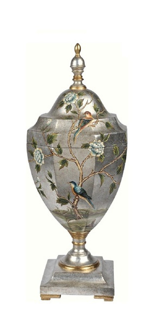 Luxe Life Hand Painted 28 Inch Covered Urn for the Tabletop or Mantel, Metallic Silver Nature Scene