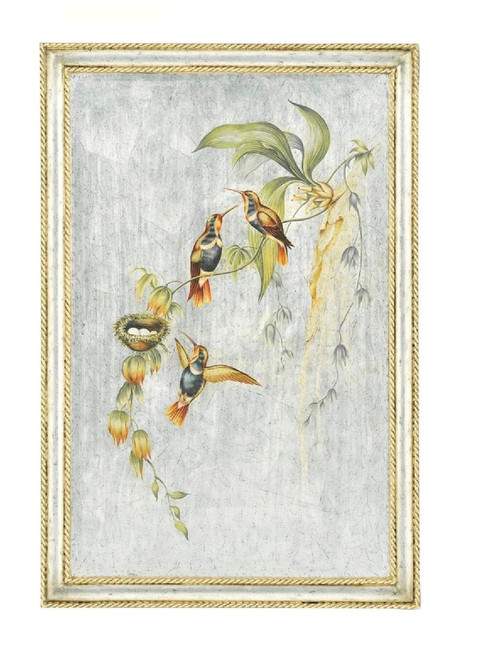 Luxe Life Hand Painted 38 Inch Right Facing Wall Panel Art Left Facing, Metallic Silver Leaf Nature Design