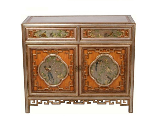 Luxe Life Hand Painted 40 Inch Entry Chest or Sideboard - Metallic Silver Nature Design