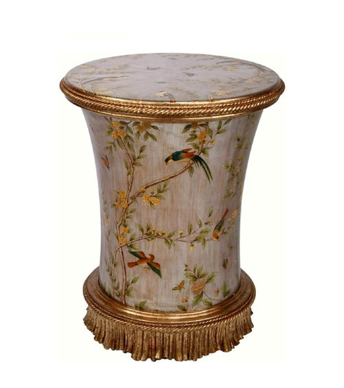 Luxe Life Hand Painted 21 Inch Round Accent Table - Metallic Silver Nature Design