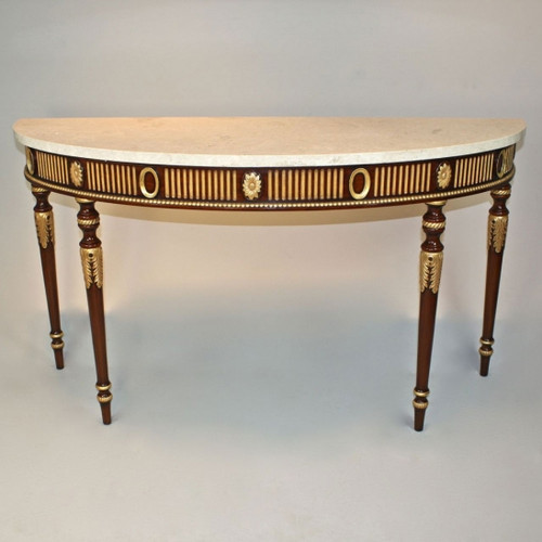 French Neo Classical Louis XVI Style - 60 Inch Entry Console Reproduction Carved Hardwood and Marble Table - Rich Wood Luxurie Furniture Finish with Gold Accents