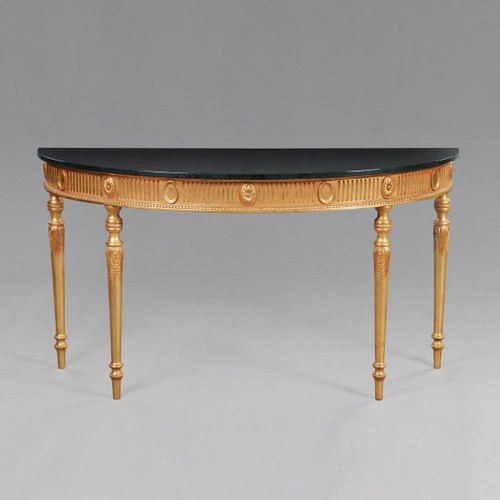 French Neo Classical Louis XVI Style - 60 Inch Entry Console Reproduction Carved Hardwood and Marble Table - Gold Luxurie Furniture Finish