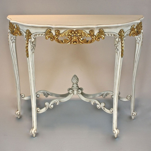 French Rococo Louis XV Style - 40 Inch Entry Console Reproduction Carved Hardwood Table - White with Gold Accent Luxurie Furniture Finish