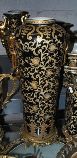 Ebony Black and Gold Lotus Scroll - Luxury Handmade Reproduction Chinese Porcelain and Gilt Brass Ormolu - 25 Inch Tapered Palace Vase - Style 81