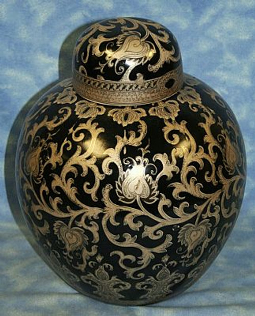 Ebony Black and Gold Lotus Scroll - Luxury Handmade Reproduction Chinese Porcelain - 10 Inch Covered Round Jar - Style B21