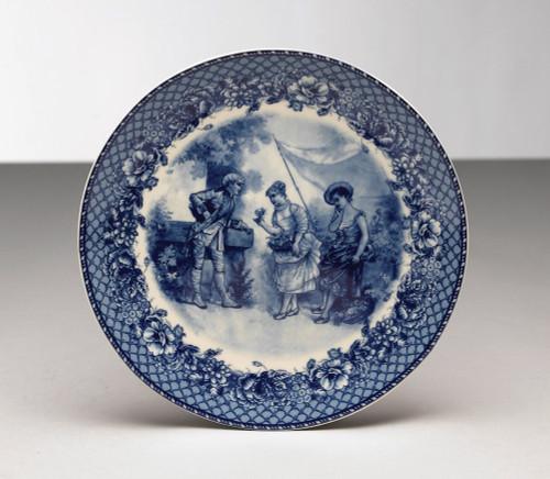 Blue and White Decorative Transferware Porcelain Plate, 8.5 Inch Diameter