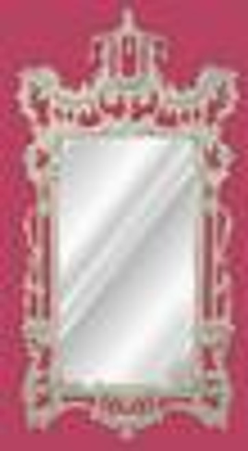 A Classic Elements 62t X 31w x 4d Rectangular Shape Beveled Glass Chinese Chippendale Reproduction Mirror, Custom Gloss FinishShown in Benjaman Moore Color Simply White #2143-70
