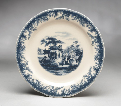 Blue and White Decorative Transferware Porcelain Plate, 10 Inch Diameter 7032 AAA