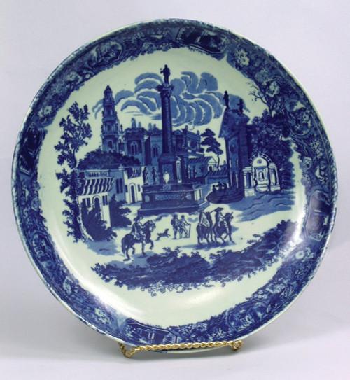 Blue and White Decorative Transferware Porcelain Plate, 16 Inch Diameter