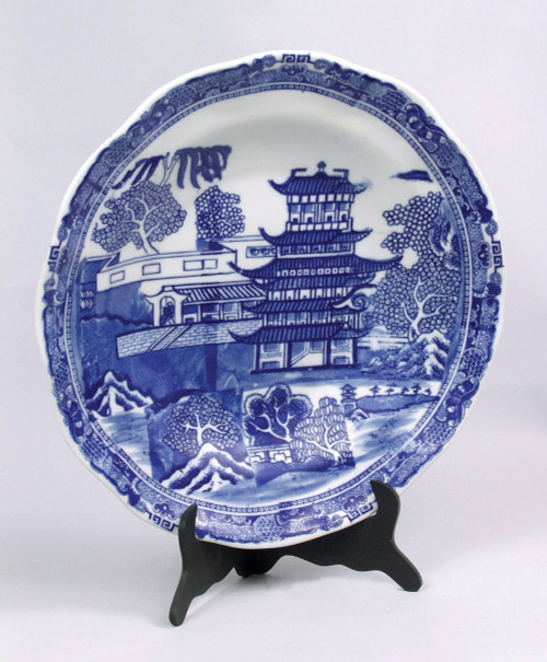 Blue and White Decorative Transferware Porcelain Plate, 13.5 Inch Diameter