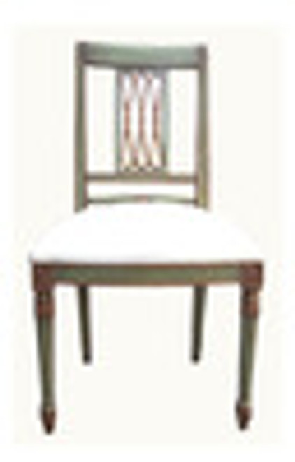 Custom Decorator - Hardwood Hand Carved Reproduction - Classic Dining | Accent 41.7 Inch Side Chair - Carved Back and Upholstered Seat