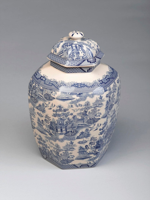 Blue and White Transferware Porcelain Jar, 10.5 Inches Tall 7018 AAA