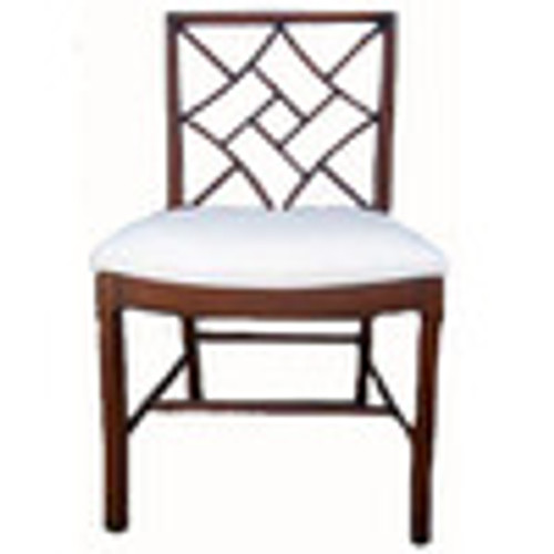 Custom Decorator - Hardwood Hand Carved Reproduction Chinese - Chippendale Dining | Accent 36.2 Inch Side Chair - Lattice Back and Upholstered Seat