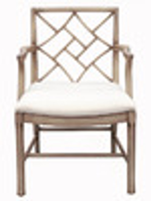Custom Decorator - Hardwood Hand Carved Reproduction Chinese - Chippendale Dining | Accent 36.2 Inch Arm Chair - Lattice Back and Upholstered Seat