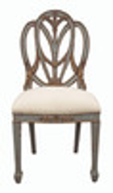 Custom Decorator - Hardwood Hand Carved Reproduction Hepplewhite - Prince Of Wales Dining | Accent 44 Inch Side Chair - Carved Back and Upholstered Seat