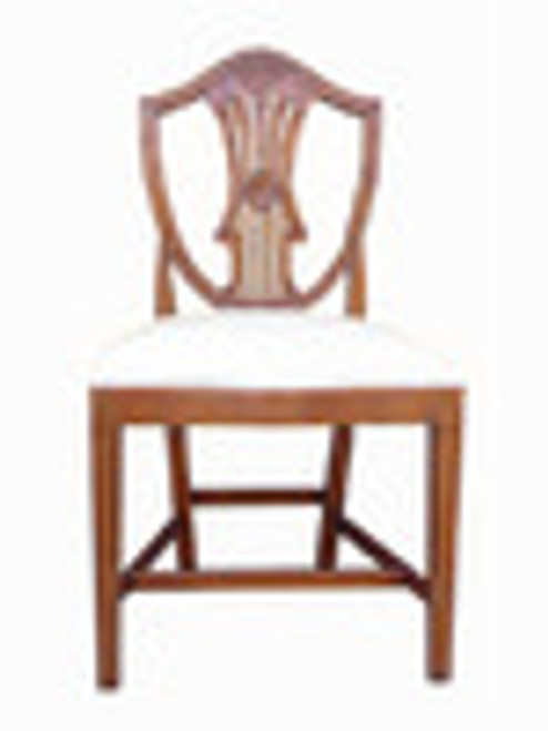 Custom Decorator - Hardwood Hand Carved Reproduction - Classic Dining | Accent 38.6 Inch Side Chair - Carved Shield Back and Upholstered Seat
