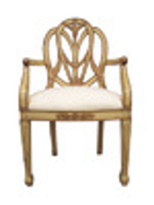 Custom Decorator - Hardwood Hand Carved Reproduction Hepplewhite - Prince Of Wales Dining | Accent 44 Inch Arm Chair - Carved Back and Upholstered Seat